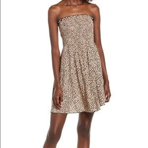 love, fire nordstrom cheetah strapless dress